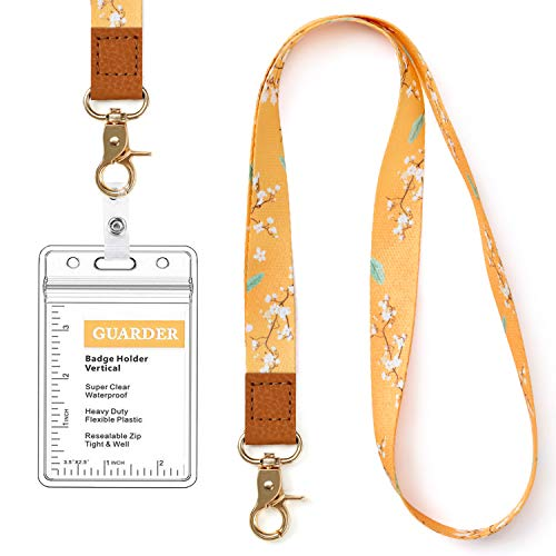 Lanyard with id Holder Cute Lanyards for Women Lanyard for Keys ID Badge Holder (Yellow Flower)