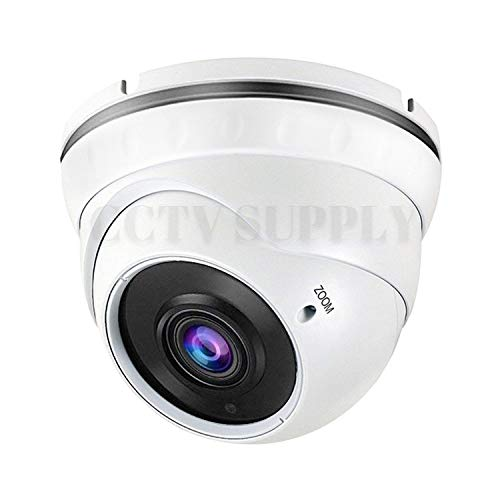 Real HD 1080P Dome Outdoor Security Camera Quadbrid 4-in1 HD-CVI TVI AHD Analog , 2MP 1920×1080, 100ft Night Vision, Metal Housing, 2.8-12mm Varifocal Wide Viewing Angle, White