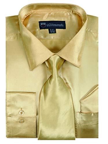 Milano Moda Satin Classic Dress Shirts with Tie & Hankie SG08-Gold-16-16 1/2-34-35