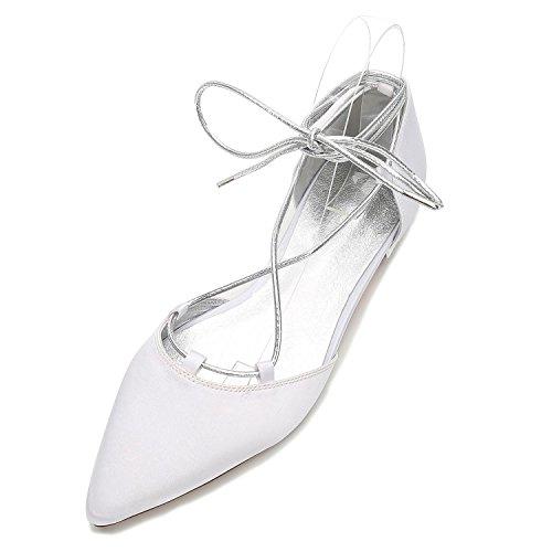 L@YC Frauen Hochzeit Schuhe 5047-22 Wies Low Heels Satin Bandagen Geschlossen Toes/Prom/Party White