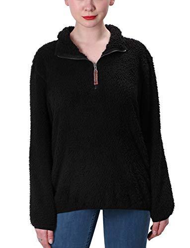 - Jjyee Fleece Sherpa Pullover Womens 1/4 Zip Fleece Fuzzy Sweatshirt Reversible Pullover Long Sleeve Soft Outwear Sweater (Black,Small)