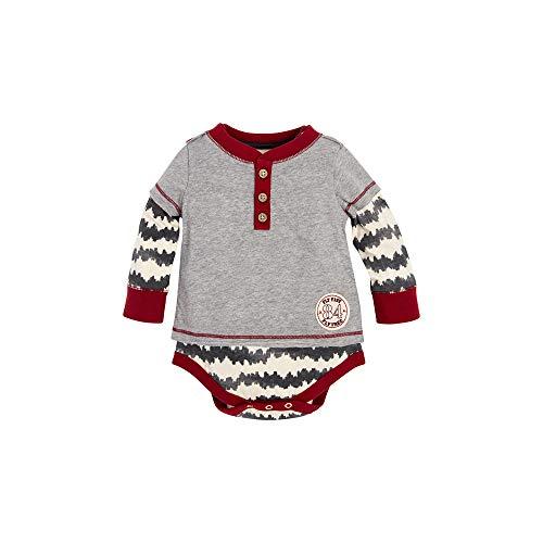 Burt's Bees Baby Baby Boys, Short Long Sleeve One-Piece Bodysuits, 100% Organic Cotton, Arctic Ocean Waves 2Fer, 12 Months