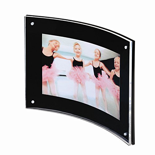 Yakri 8.5×11 Acrylic Curved Picture Photo Frames,Curved Sign Holder with Magnetic for Diploma,Certificate or Plaque (Black &Clear)