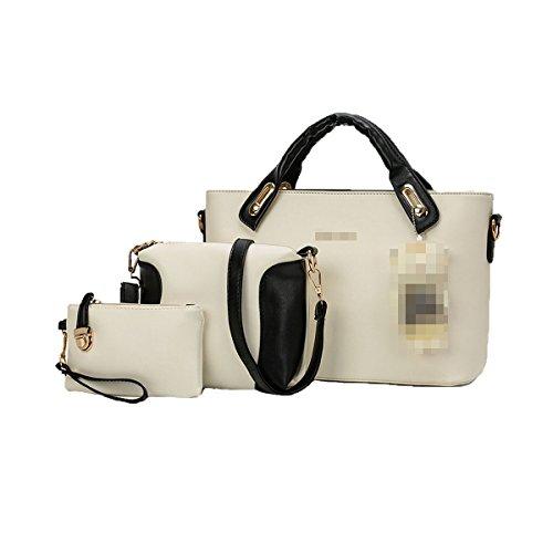 Lady Fashion 3 Piezas Conjuntos Pu Bolso De Cuero Bolso De Mano Satchel Monedero Crossbody Bolsas Para Mujeres Multicolor White