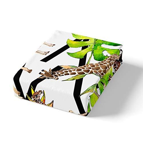 Giraffe Duvet Cover Set Palm Leaves Tropical Plants Comforter Cover for Kids Boys Girls Teens 3D Wild Animal Pattern Hypoallergenic Microfiber Bedding Set Decor 3Pcs Bedspread Cover Full Size