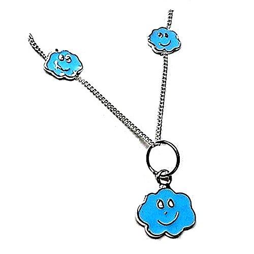 Juego plata ley 925m pendientes colgante nube azul esmaltado [AB0585]