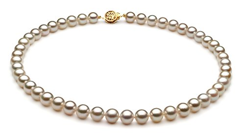 Blanc 7-7.5mm AA-qualité Akoya du Japon 585/1000 Or Jaune-un set en perles