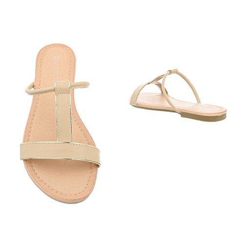 Ital-Design Women's Sandals Block Heel Mules at Beige Pm203 DIHkT