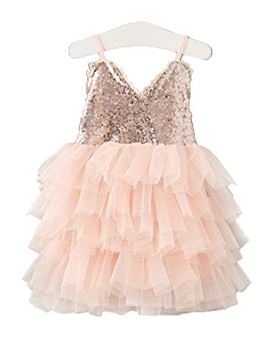 Topmaker Sequin Flower Girl Dress Girl Birthday Party Dress (Tiered Pink, 8-9Y)