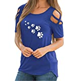 Vickyleb Women's Loose Strappy Tank Top Short Sleeve Shirts for Women Casual Print Blouse Shirt Cold Shoulder Tops Blue