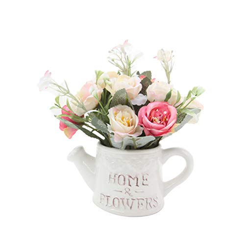 (Braceus 1Pc Artificial Flower Watering Pot Shape Bonsai Home Office Desktop Party Decor Beautiful Realistic Plants Greenery Restaurant Hotel Desk Decoration Light Pink)
