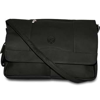 NHL Buffalo Sabres Pangea Black Leather Laptop Messenger Bag