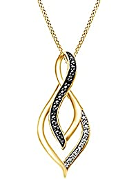 Black & White Natural Diamond Infinity Pendant Necklace in 14k Gold Over Sterling Silver (0.1 Ct)