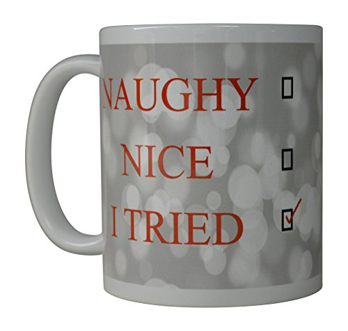Rogue River Funny Coffee Mug Merry Christmas Naughty Nice List I Tried Novelty Cup Great Holiday XMAS Gift Idea For Men Women Office Party (I Tried)