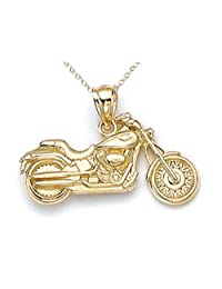 14kt Yellow Gold Small Motorcycle Pendant Chain Included