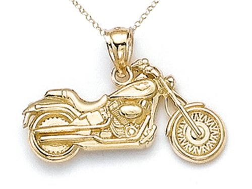 Gold 14k Motorcycle (Finejewelers 14k Yellow Gold Small Motorcycle Pendant Necklace Chain Included)