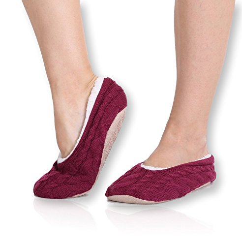 - Pembrook Ladies Cable Knit Slippers – Cherry - Large (9-10.5) – Ballet Style with Non-Skid Sole - Faux Shearling Lining and Suede Sole - Great Plush Slip On House Slippers for Adults, Women, Girls