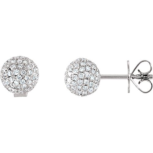 (FB Jewels 18k White Gold Pair 1 1/6 Ct Tw Polished Diamond Earrings)