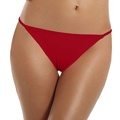 Reteron Women's Sexy String Side Bathing Suit Bottoms 2 Pack (Black DarkRed, XL) by Reteron (Image #3)