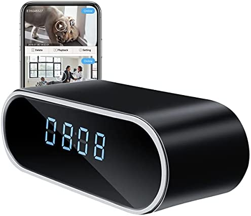 Hidden Camera Clock,HD 1080P WiFi Camera Alarm Clock with Night Vision and Motion Sensing,Wireless Security Camera for Home Office Surveillance