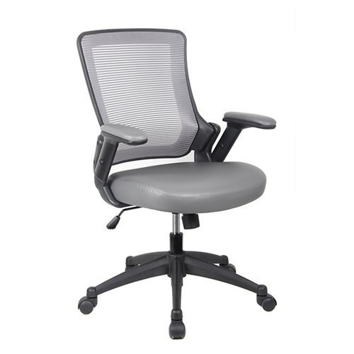 RTA-8030-GRY Height Adjustable Arms Mid-Back Mesh Task Office Chair, 25″ W x 25″ D x 34″ H, Gray