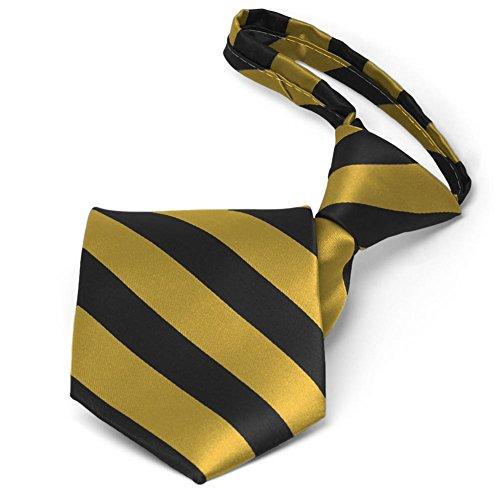 TieMart Black and Gold Striped Zipper - Tie Striped Multi