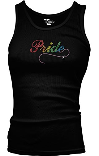 Tcombo Rhinestone - Pride - Gay Lesbian Homosexual Junior Tank Top (Large, Black) (Juniors Pride Tank Top)