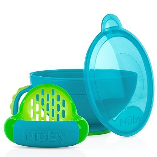 Nuby Garden Fresh Steam N' Mash Baby Food Prep Bowl and Food Masher Blue/Green