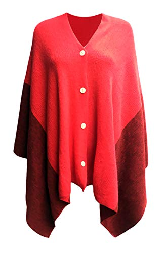 Women's Vintage Plaid Knitted Poncho Shawl Cape Button Cardigan Coat Red