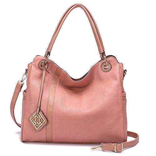 Women Handbag,Totes for Women Stylish Hobo Bags Leather Purses Shoulder Bag Ladies Work Bags Oversize Top-Handle Purse(Pink)