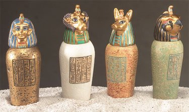 Egyptian Canopic Jars (Small Canopic Jars Set of 4 Rare Set)