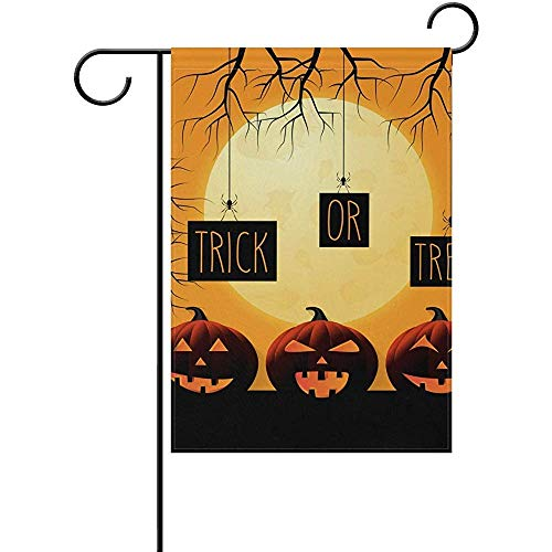 Andrea Back Double Sided Yard Garden Flag, Halloween Poster with Pumpkins Perfect for Indoor Outdoor Garden Yard Decoration (12