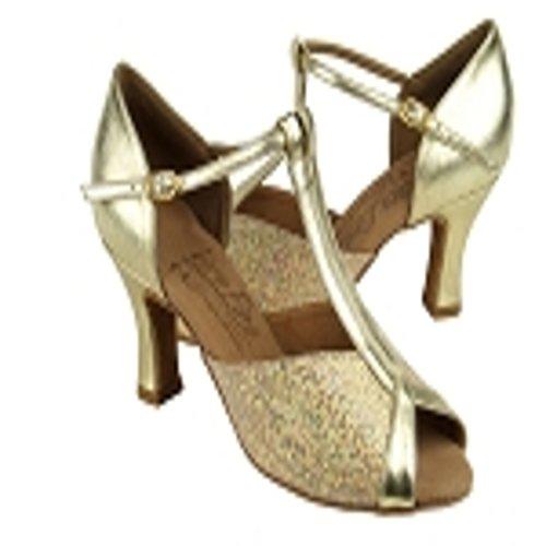 Very Fine Ladies Gold Sparkle Latin Dance Shoe S2804 in size 9 with 2.5 inch heel fjbqQhIah