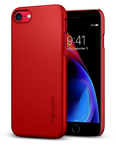 Spigen Thin Fit iPhone 8 / iPhone 7 Case with Premium Matte Finish Coating and QNMP Compatible for Apple iPhone 8 (2017) / iPhone 7 (2016) - Red