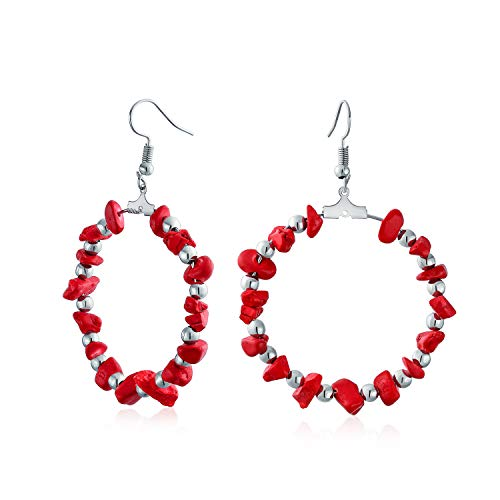 Stabilized Red Turquoise Chip Circle Round Large Hoop Earrings For Women For Teen Silver Tone Plated Brass 3 Inch Dia