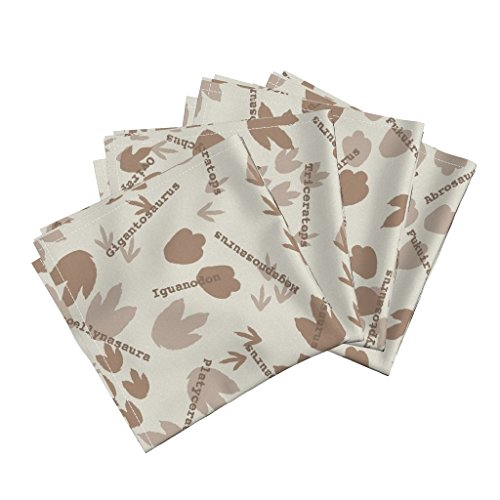 Extinct Animal Endangered Dinosaurs Footprints Tracks Organic Sateen Dinner Napkins Everybody Do The Dinosaur by Robyriker Set of 4 Dinner Napkins by Roostery