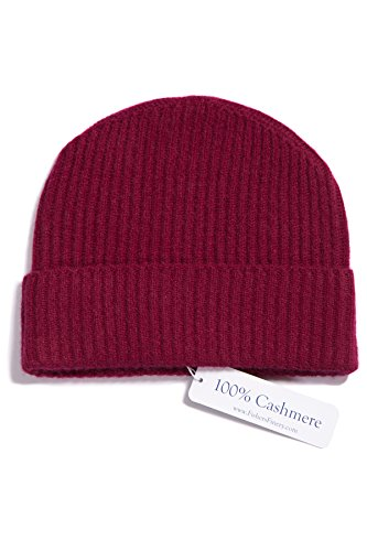 (Fishers Finery Men's 100% Cashmere Winter Hat; Cuffed; Ribbed (Red),One Size Fits Most)