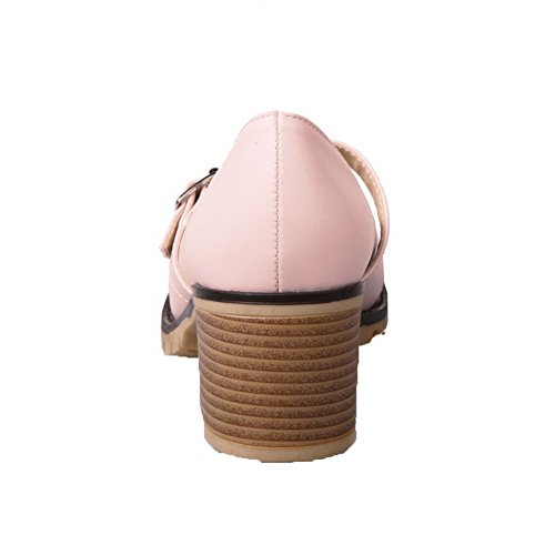 Avokkaat Solid Pu Vaaleanpunainen Naisten Pentu toe Pyöreä Solki Odomolor kannoilla 4q786BHBc