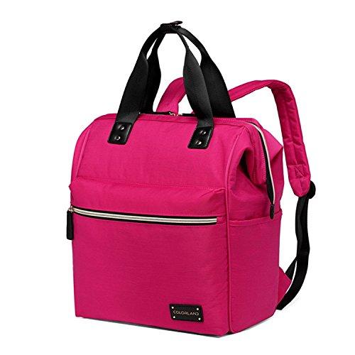 bigforest maternidad multifuncional momia bolso de mano bolsa de viaje bolsa mochila bebé pañales para pañales bolso cambiador Rosa y rojo Talla:talla única Rosa y rojo