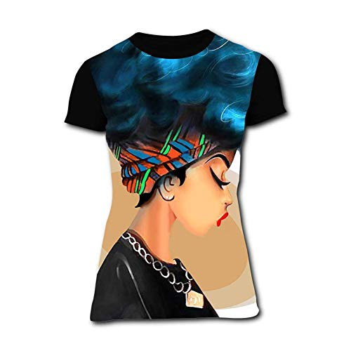 Big And Tall Word T-shirt - Women's T-Shirts Strong Black Woman Afro Words Art Natural Hair 3D Floral Print Casual Tops for Women Tees 3XL