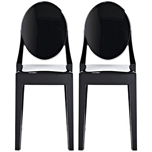 2xhome Set of Two 2 – Louis Style Ghost Armchair Dining Room Chair – Lounge Arm Arms Armed Chairs Armchairs Accent Seat Higher Fine Modern Mid Century Designer Side Black