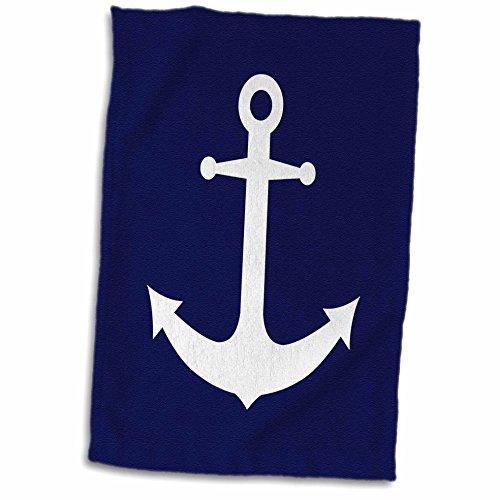 3dRose-Janna-Salak-Designs-Nautical-Navy-Blue-and-White-Nautical-Anchor-Design-Towel