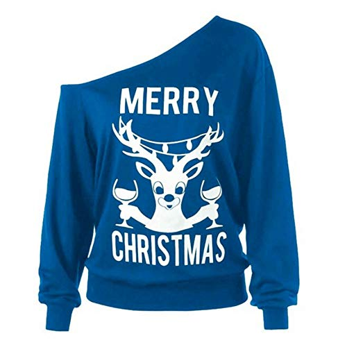 (Franterd Merry Christmas Tops Women Blouse Christmas Erk Print Off Shoulder Holiday Party Sports)