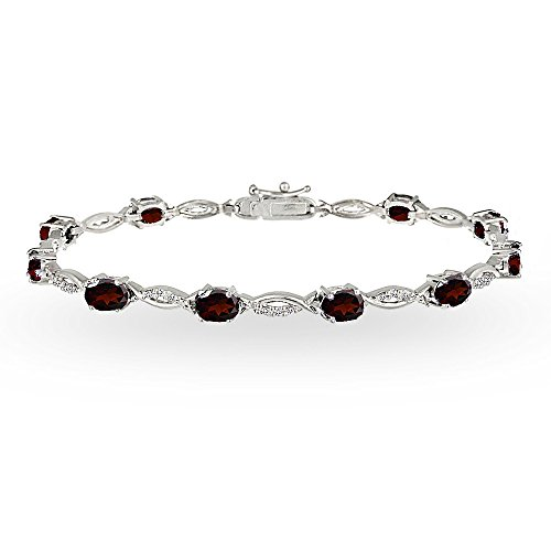 GemStar USA Sterling Silver Garnet and White Topaz Oval-Cut Swirl Tennis Bracelet