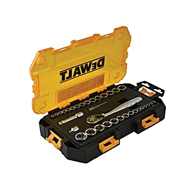 DEWALT DWMT73804 Tough Box Drive Socket Set (34 Piece), 1/4  and 3/8