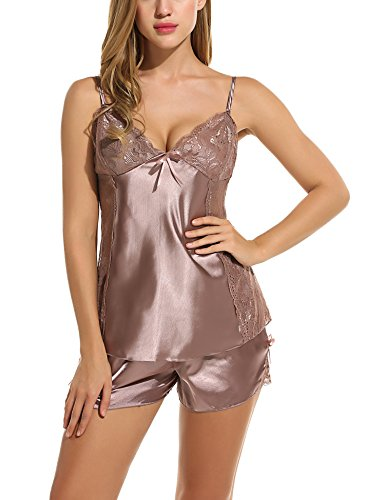 Avidlove Women Sexy Lingerie Lace Sleepwear Satin Pajama Cami Shorts Set Coffee S