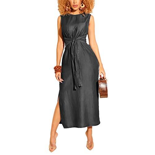 Adogirl Womens Summer Sleeveless Denim Dresses - Sexy Slit Bodycon Black Midi Dress Slim Tie Belt Jean Dress (Dark Denim Dress)