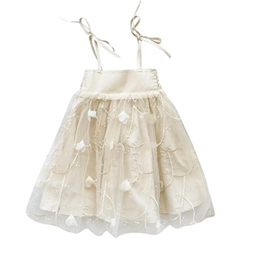 Niñas correa de apliques bordado de bebé, jarsh espalda descubierta neto hilo vestido de princesa ropa, Beige, 24M(18-24...