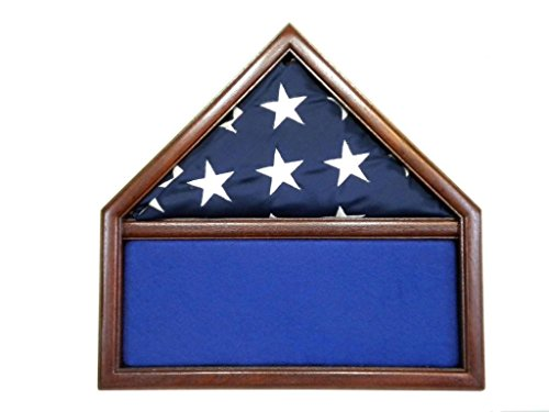 Solid Mahogany Flag/ Memorabilia Case for 3' x 5' Nylon Military Missions/Capital size Flag-Black by USAFlagCases