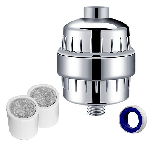 Quantum GM 10-Stage Shower Head Filter With 2 Cartridges – Universal Hard Water Filtration & Purification System – Removes Chlorine, Heavy Metals, Bacteria, Sulfur Odors – Restore Hair & Skin Health